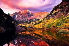 Colorado -Maroon Bells with Maroon Lake in the foreground.