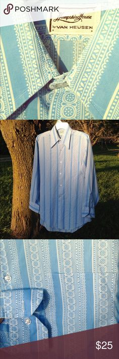 Vintage 1970s blue dress shirt This vintage men's dress shirt is in excellent used condition. My dad says he probably wore in the 1970s. Has a front pocket, buttons down, and has buttons on the sleeves. Please see photos. Please ask any questions before purchasing. Vintage Shirts Dress Shirts
