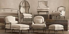 Vintage French Chairs by Restoration Hardware. I love modern design, but I still go crazy for a gorgeous bergere. Rococo and baroque styles can look fabulous mixed with super simple, sleek modern shapes.