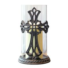 Briarwood Jeweled Legacy Carved Cross Pillar Hurricane Candle Holder * You can get additional details at the image link.