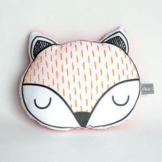 Sleepy fox cushion,Woodland pillow, Kids pillow, Sleepy fox cushion, Animal plush, Decorative pillow, Nursery decor, Fox pillow