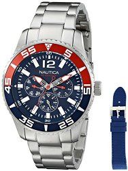 Nautica Men's NAD16503G NST 07 Multi Analog Display Japanese Quartz Silver Watch