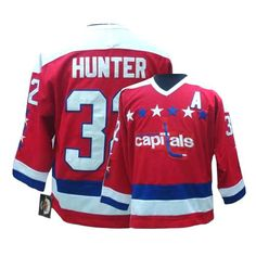 Authentic Dale Hunter Red Men's NHL Jersey: #32 Throwback Washington Capitals CCM