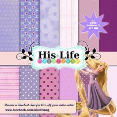 12 Digital Scrapbooking Papers 12x12 Disney by Hislifemagazine, $4.75