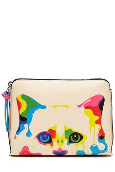 X Steven Wilson Printed Leather Clutch | Karl Lagerfeld