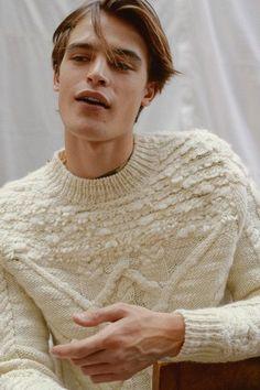 Men's white knit sweater