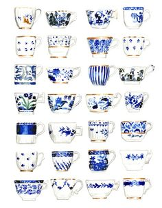 Blue and White Antique Teacups Art Print Watercolor Painting Wall Decor English High Tea Cups Chinoiserie Gift for Her Preppy Mad Tea Party - Print of the original watercolor painting of blue and white teacups, all antique china patterns in - Blue And White China, Love Blue, Blue China, China China, Chinoiserie, Tassen Design, Keramik Design, Dining Room Art, Art Et Illustration