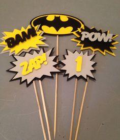 Batman Centerpiece 5 pc Superhero party by InspiredbyLilyMarie Lego Batman Party, Batgirl Party, Lego Batman Birthday, Superhero Birthday Party, 3rd Birthday Parties, Boy Birthday, Birthday Ideas, Baby Batman, Batman Comics