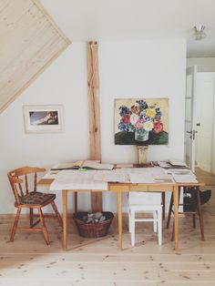Kitchen table used as workspace // Marte Marie Forsberg