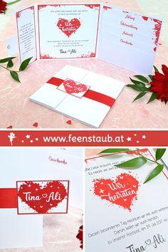 Pocketeinladungen mit Einsteckkarten bieten viel Platz für Informationen. Wir erstellen eure ganz persönlichen Hochzeitseinladungen nach euren Vorstellungen. So wie hier als Einladungskarte in Rot mit Herzen, Schmetterlingen und Wasserfarben Klecksten. Egal ob schlicht, rustikal oder ausgefallen. Wir setzen eure Ideen kreativ für eure Hochzeit und die komplette Papeterie um. Save The Date Karten, Gift Wrapping, Gifts, Design, Invitation Cards, Postcards, Thanks Card, Getting Married, Creative