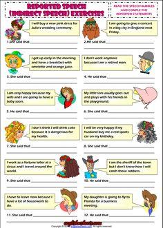 Indirect Speech ESL Grammar Exercise Worksheet