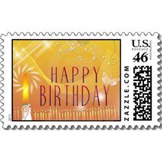 Gold tones Happy Birthday Postage