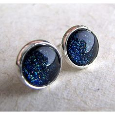 Starry Post Earrings Starry Night Navy Blue Glitter Silver Earrings ❤ liked on Polyvore featuring jewelry, earrings, glitter earrings, sparkle jewelry, silver post earrings, star earrings and silver jewellery