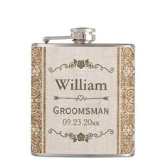 Rustic Burlap Lace Wedding Groomsman Hip Flask