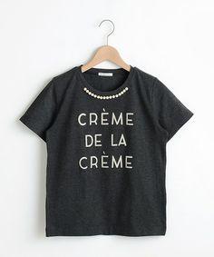 le.coeur blanc (ルクールブラン)のパール付プリントTシャツ(Tシャツ/カットソー)|チャコールグレー