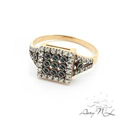 14K Gold Ring Inlaid Black and White Diamonds Exellent by AoryNL, $650.00