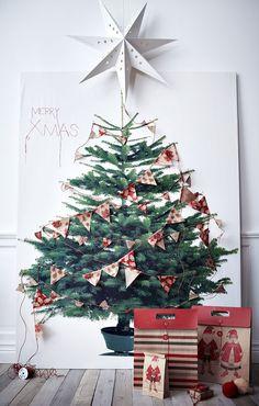 Cadeau Creatief met papier (schilderij met kerstboom)