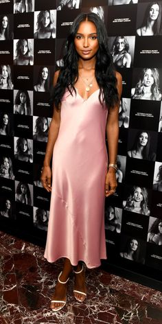 Jasmine Tookes wore a slinky nightgown as a slip dress and anchored her look with white Stuart Weitzman sandals and layered Missoma coin necklaces. Tulle Dress, Dot Dress, Pink Dress, Celebrity Outfits, Celebrity Style, Jasmin Tookes, Stuart Weitzman Sandals, All Black Outfit, Fashion Tips For Women