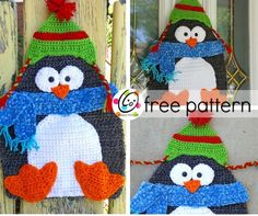 free crochet pattern~penguin for the door or make as a pillow