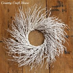 New Primitive Shabby Christmas Twiggy Snow White Covered Twig Wreath
