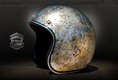 custom motorcycle helmet silver gold marble
