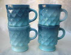 (4) Vintage Anchor Hocking Fire King Kimberly Mugs in Blue