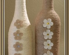 Twine Wrapped Wine Bottle by MATUA on Etsy
