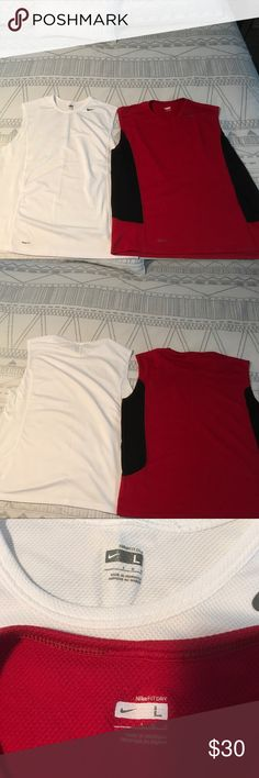 Nike men's running shirts (2) Two men's large Nike running shirts great condition. One white one red and black. No rips stains or tears. Nike Shorts Athletic