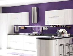 Wonderful Purple Kitchen 70 For Home Decoration Planner with Purple Kitchen Purple Kitchen Walls, Purple Kitchen Designs, Home Decor Kitchen, New Kitchen, Home Kitchens, Kitchen Ideas, Custom Kitchens, Kitchen Paint, Purple Home Decor