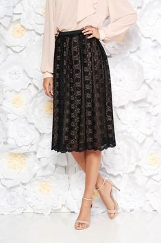 StarShinerS black elegant high waisted cloche skirt laced with inside lining, inside lining, lace details, high waisted