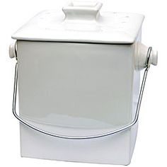 Shop for Le Chef French White Ceramic Square Compost Pail. Get free delivery On EVERYTHING* Overstock - Your Online Kitchen & Dining Destination! Compost Container, Compost Bucket, Kitchen Compost Bin, Must Have Kitchen Gadgets, Charcoal Filter, Storage Canisters, Compact Kitchen, Cottage In The Woods