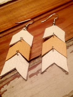 Handmade White and Yellow Leather Chevron Earrings