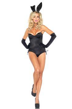 Leg Avenue Costumes 83991 - 4 PC. Black Bunny Costume (Incl. Teddy, Tail