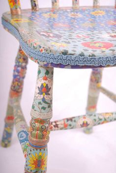 blue wooden chair decoupage upcycled Tallulah by kitschemporium, Painted Chairs, Hand Painted Furniture, Funky Furniture, Repurposed Furniture, Furniture Projects, Furniture Makeover, Decoupage Chair, Decoupage Paper, Boho Decor