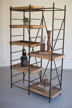 For Sale ~ Modern Industrial rustic wood and metal shelving unit, with six adjustable wooden shelves. Simple ♥ Rustic ♥ Elegant ♥ Product Dimensions: x x minor assembly required Wood And Metal Shelves, Metal Shelving Units, Rustic Shelves, Glass Shelves, Shelving Ideas, Vintage Industrial Furniture, Rustic Furniture, Modern Industrial, Furniture Ideas
