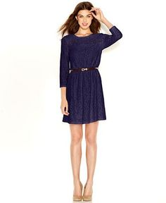 Maison Jules Sweetheart-Illusion Lace-Overlay Belted Dress - Dresses - Women - Macy's