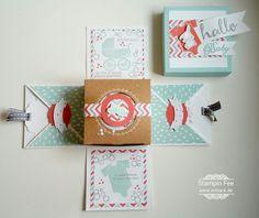 stampin Baby birth explosion Box with present socks / stocking Baby Geburtstag Explosionsbox Geburt  mit Söckchen