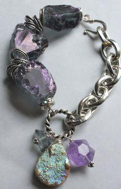 chunky charm bracelet drusy bracelet charm by soulfuledges on Etsy, $63.00