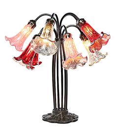 Rose & Mercury Glass Ten-Arm Lily Table Lamp