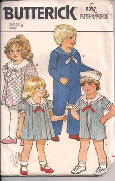 Childrens Sailor Suit and Sailor Dress Vintage Butterick 6397 by ThatsSewSandra on Etsy