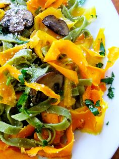 Butternut Squash Ribbons with Spinach Tagliatelle - Proud Italian Cook Gotta. Make a couple of substitutes for vegan.