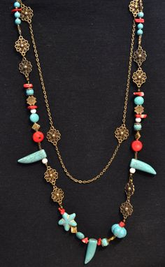 Turquoise Necklace Turquoise and Coral Necklace by LKArtChic