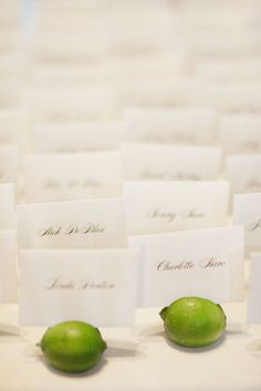 limes as placecard holders! //     Coordination by marweddings.com/, Photography by jarrudaphotography.com/