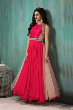 Show details for High neck style pink & off white color anarkali suit