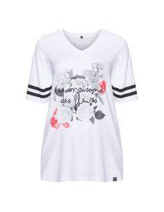 Baumwoll-T-Shirt mit Print von Zhenzi. Jetzt entdecken: http://www.navabi.de/shirts-zhenzi-baumwoll-t-shirt-mit-print-weiss-schwarz-30898-2824.html?utm_source=pinterest&utm_medium=social-media&utm_campaign=pin-it