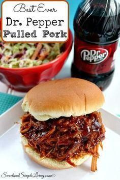 Check out our new recipe for Dr Pepper Pulled Pork! This recipe will show you how to simply make the best pork by including the popular soda, Dr Pepper! Sandwich Au Porc, Cooker Recipes, Crockpot Recipes, Dr Pepper Pulled Pork, Dr. Pepper, Pulled Pork Recipes, Pulled Pork Recipe With Coke, Crock Pot Pulled Pork, Shredded Pork Recipes