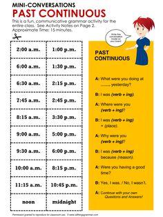 English Grammar, Conversation Practice Activity PAST CONTINUOUS, Mini-Conversations, http://www.allthingsgrammar.com/past-continuous.html