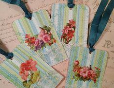 Spring Floral Gift Tags  Set of 4 by DanJDesigns on Etsy, $6.00