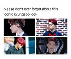 Whenever i think of iconic exo looks i always think about this hairstyle of Kyungsoo, along with Baek's black hair and Hunnie's blonde undercut.