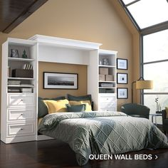 Amazon.com: Bestar: Murphy Beds Queen Murphy Bed, Murphy Bed Ikea, Murphy Bed Plans, Murphy Bed Office, Office Bed, Home Office, Drawer Storage Unit, Built In Storage, Bed Storage